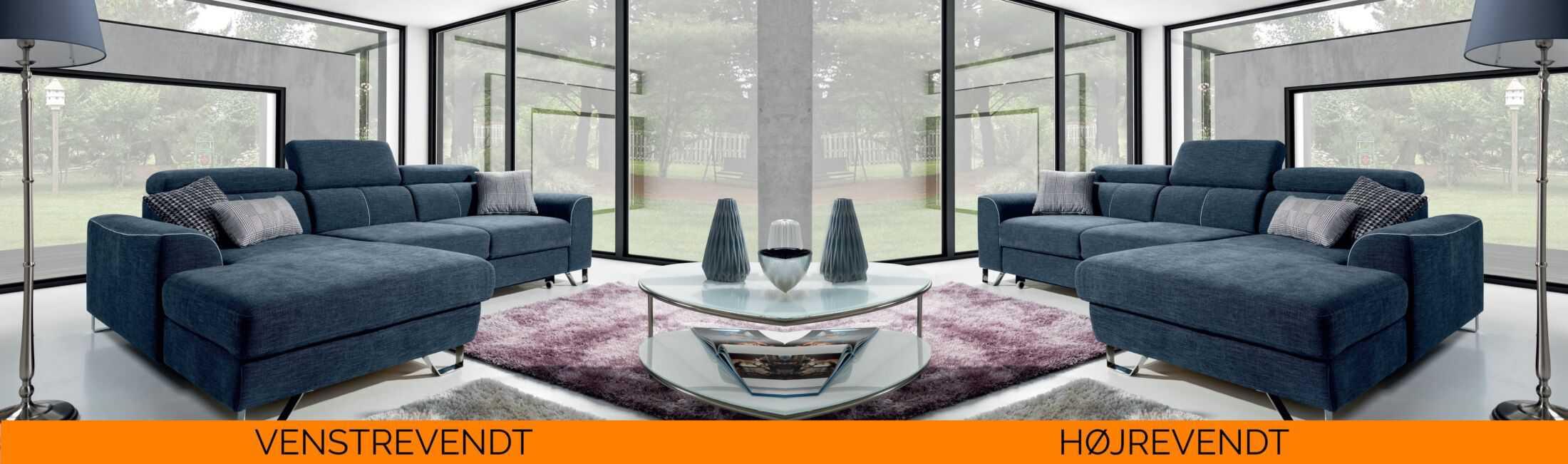 Antwerp sovesofa med chaisleong - billedet viser hvorda sofaen vender