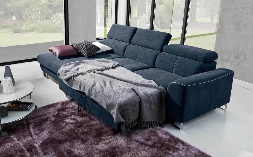 Antwerp sovesofa med chaiselong omdannet til seng