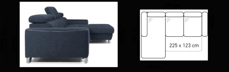 Antwerp sovesofa med chaiselong - billedet af sofaen med målene på