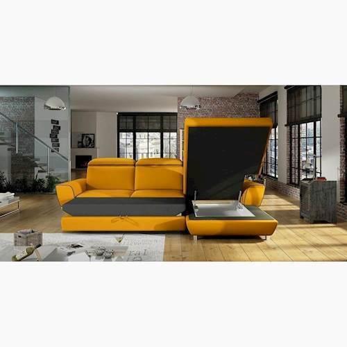 Bent chaiselong sovesofa vist med åben opbevaring og udslået til seng