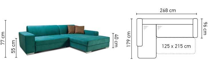Common chaiselong sovesofa med tegning af mål