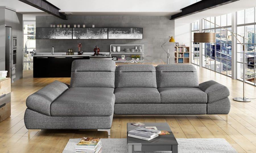 Timola sovesofa med chaiselong set forfra udført i grå farve