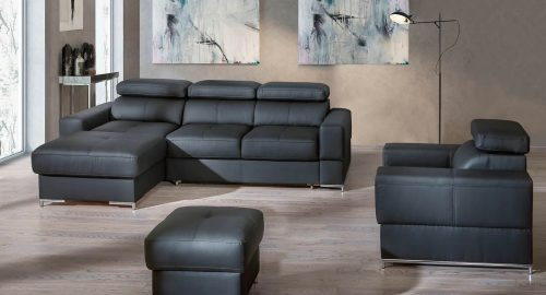 Bastion sofa med chaiselong set forfra