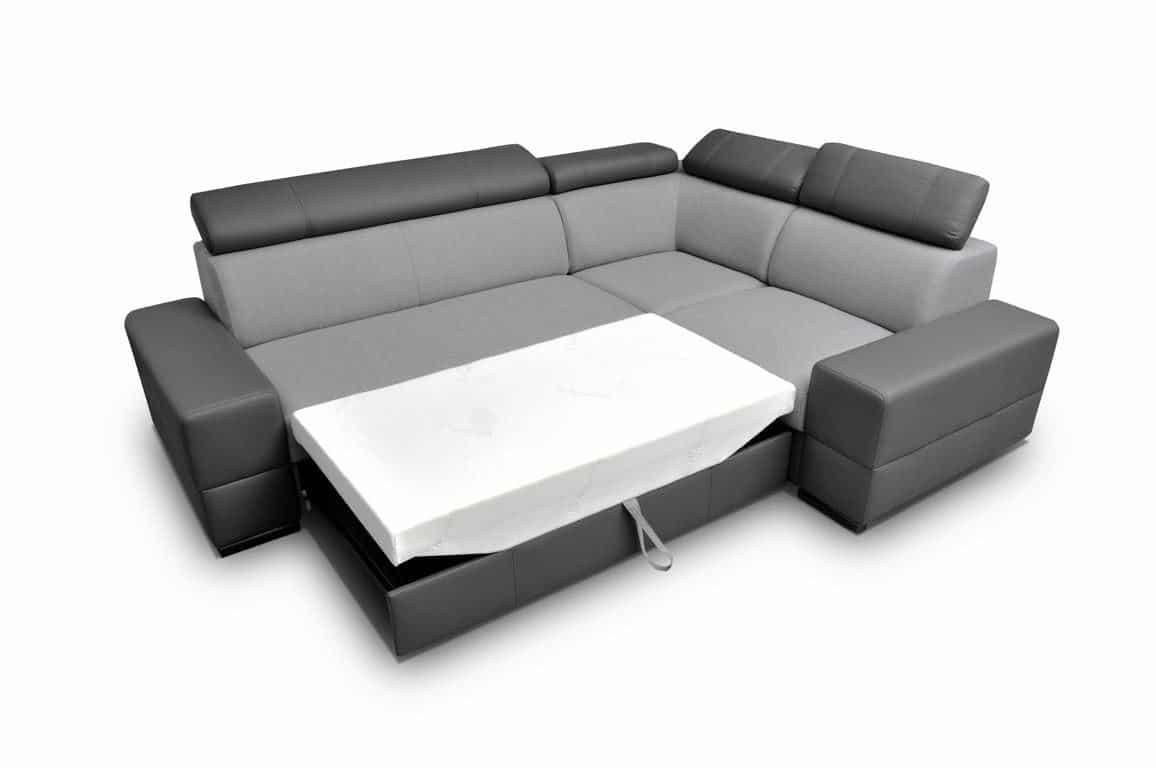 Bold hjørnesovesofa med vist soveplads