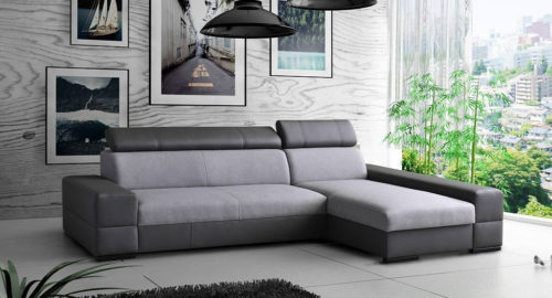Bold chaiselong sofa med sovefunktion set forfra