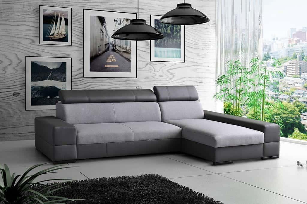 Bold chaiselong sofa med sovefunktion set forfra