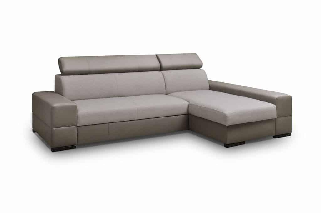 Bold chaiselong sofa med sovefunktion udført i lysegråt og sort stof