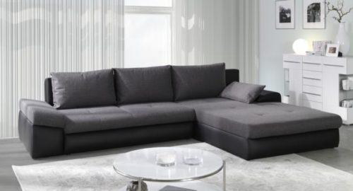 Bono sofa med chaiselong og udtræksseng set forfra