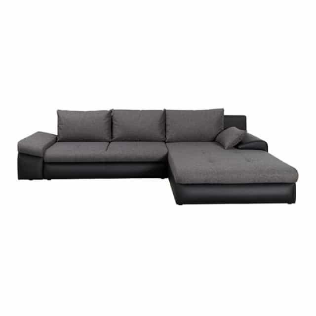 Bono sofa med chaiselong og udtræksseng set på hvid baggrund