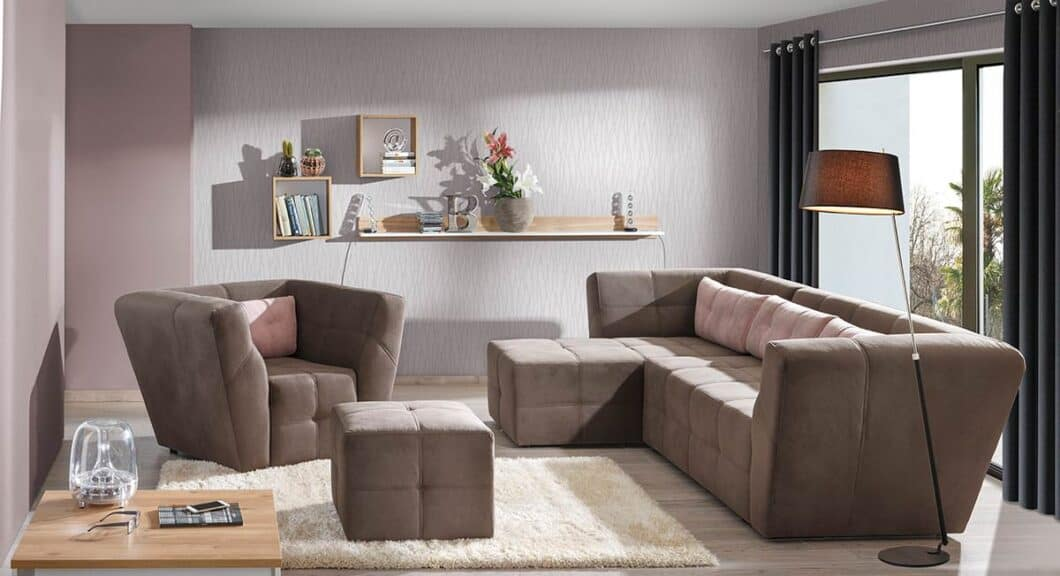 Buenos chaiselong sofa med udtræksseng set forfra