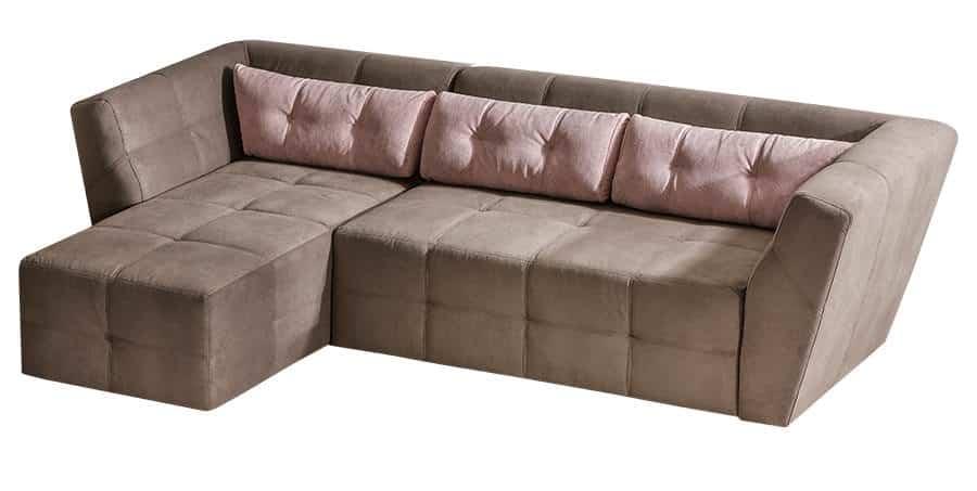 Buenos chaiselong sofa med udtræksseng set på hvid baggrund