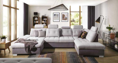 Centurion u-sofa set forfra udstillet i værelset
