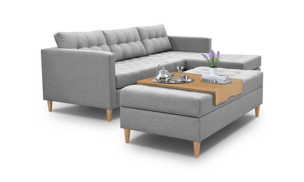 Chaiselong sovesofa omdannet til sofabordt