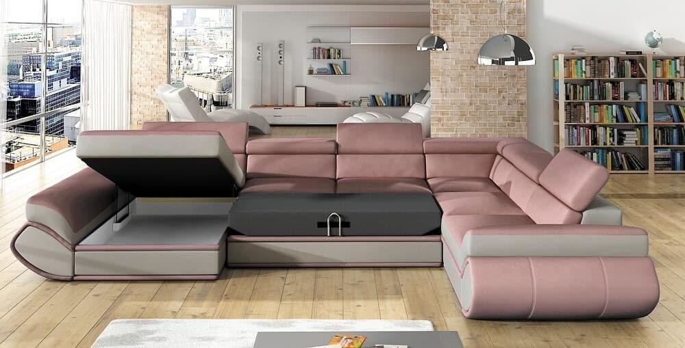 Genesis U-sofa med vist sovefunkiton og åben opbevaring