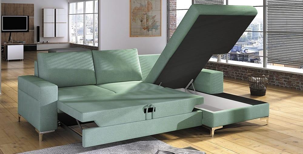 Lens sofa med chaiselong set med en åben opbevaring og soveudtræk