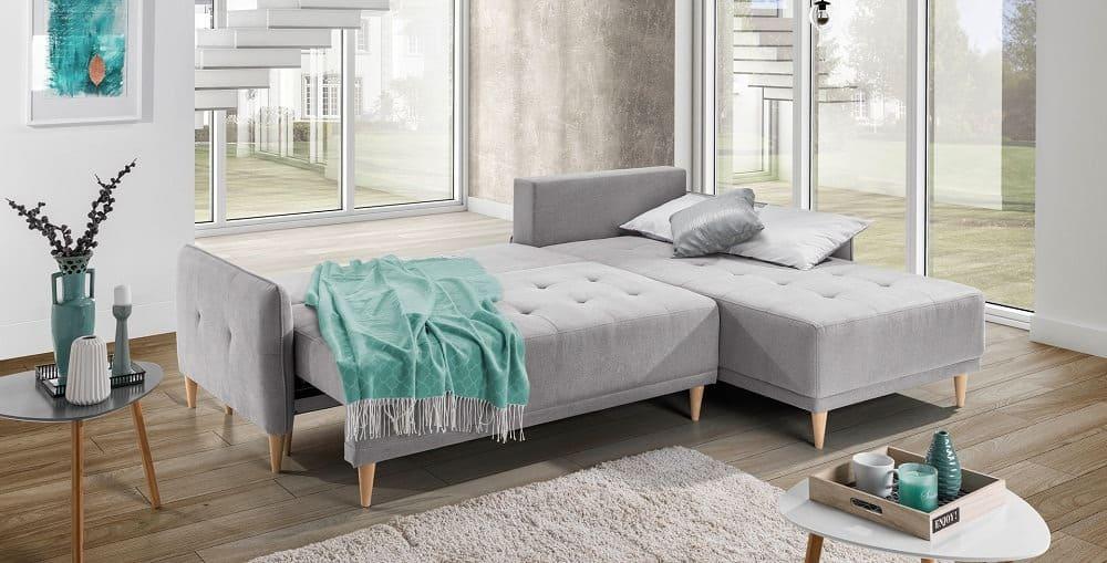 Malmø sofa med chaiselong med vist soveudtræk