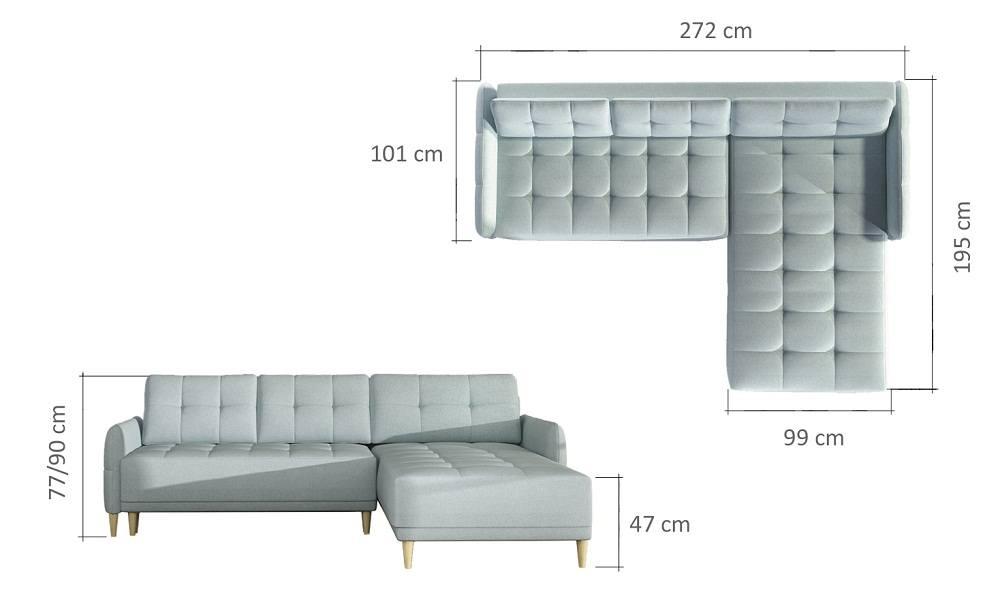 Malmø sofa med chaiselong billedet med mål
