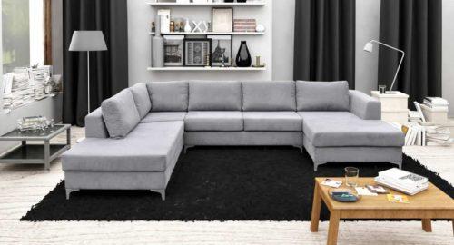 U-sofa Milano set forfra udført i grå farve