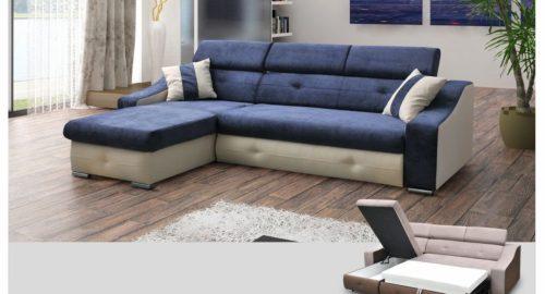 Modern chaiselong sovesofa med magasin og justerbar nakkestøtte set forfra