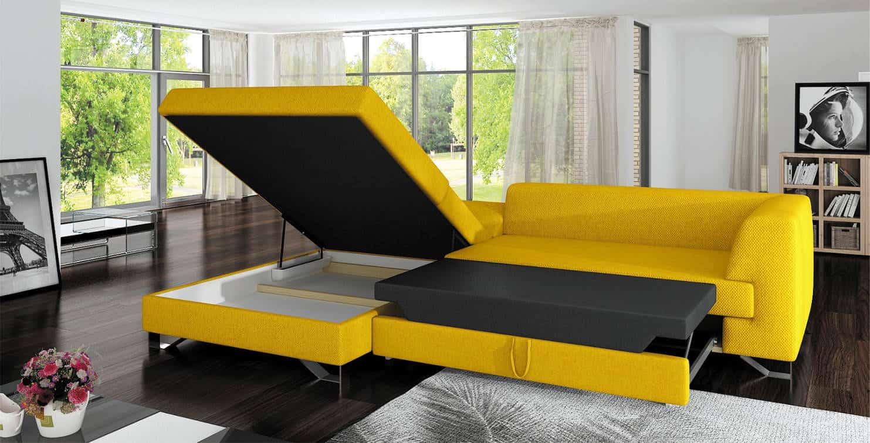 Mohito sofa med chaiselong - åben magsin og vist soveplads