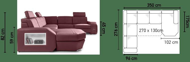 Napoli u-sofa med - billedet med vist mål
