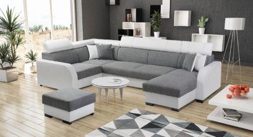 Nelly u-sofa udført i hvidt tekstil læder og gråt stof med puf set forfra