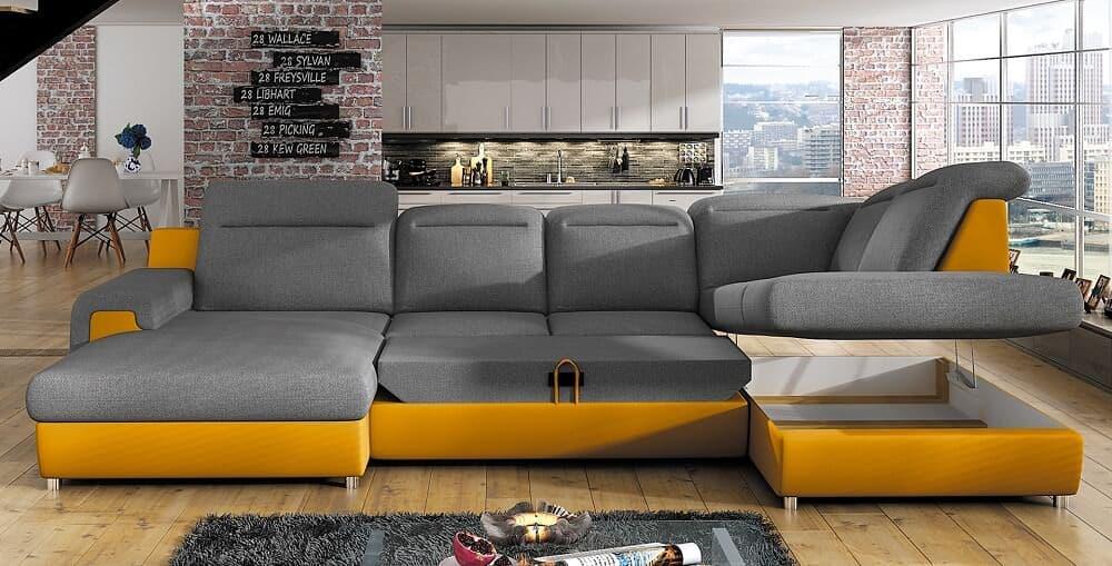 Panama u-sofa vist udslået til seng og med åben opbevaring
