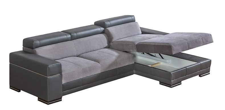 Pandora chaiselong sovesofa set med åben opbevaring