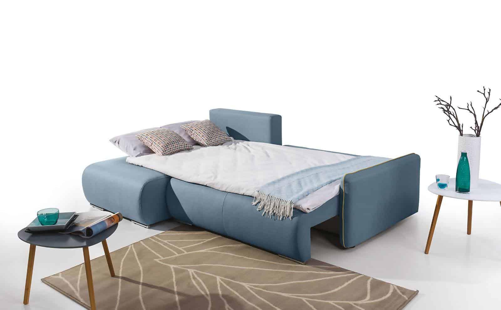 Perugia sovesofa med chaiselong omdannet til seng
