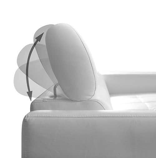 Ricardo sofa med chaiselong - justerbar nakkestøtte på klods hold