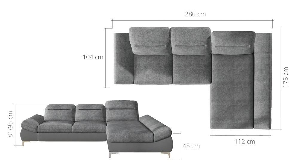 Timola chaiselong sofa m[l