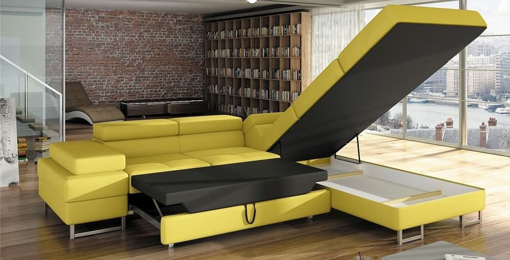 Tour hjørnesofa med vist soveplads og åben chaiselong