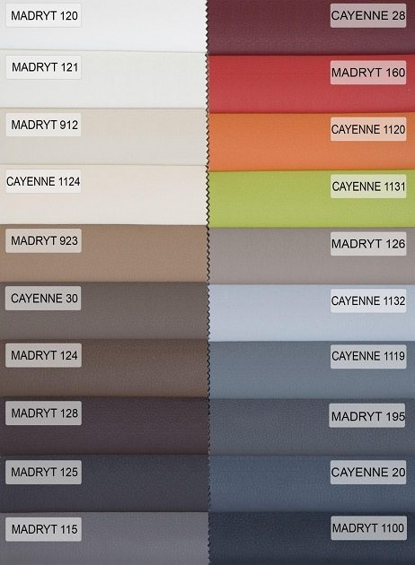 PU-læder Cayenne/Madryt katalog med farver