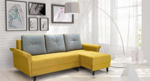 Combo 3 personers sofa samt sofa med chaiselong med sove udtræk set forfra. Sofaen er placeret i stuen