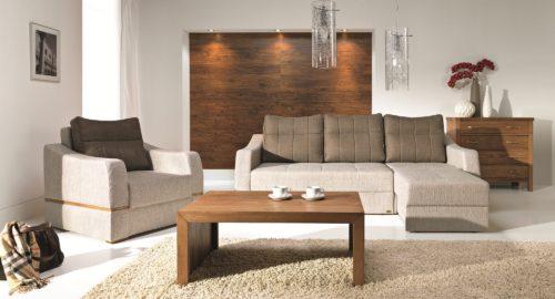 Hybrid sovesofa med chaiselong og 3 personers sofa set forfra