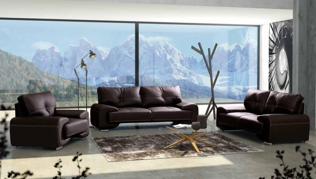 Milton Lux sofasæt i brun magic home-læder set forfra