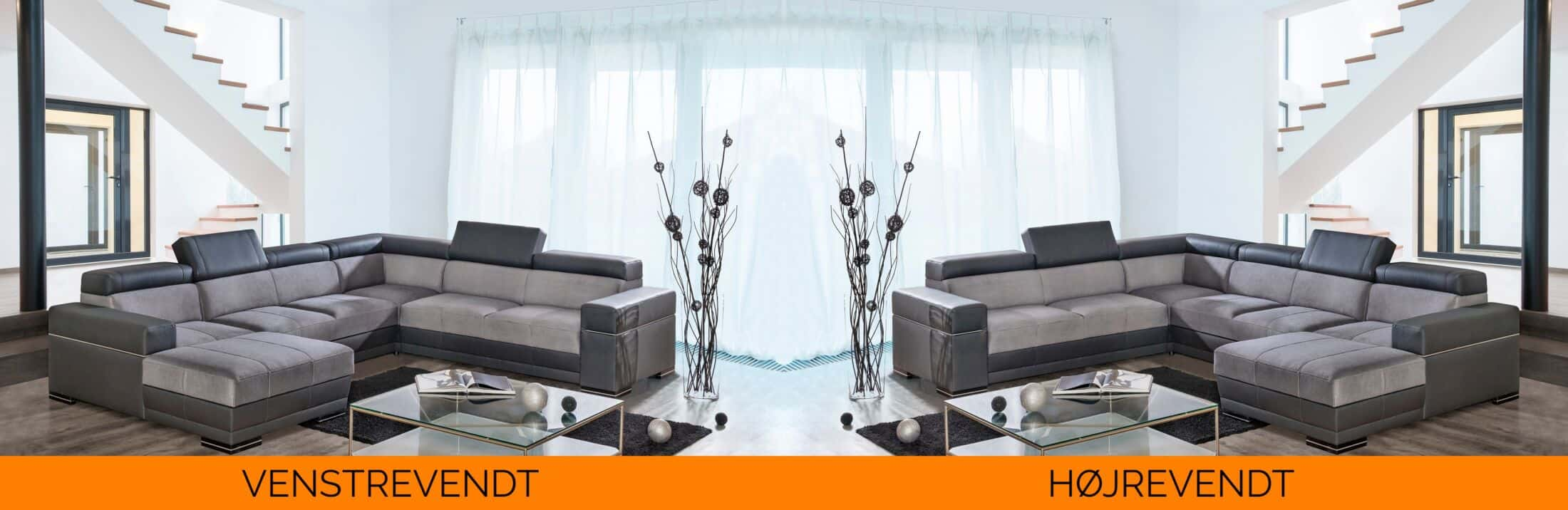 Pandoers u-sofa. Billedet viser hvordan sofaen vender