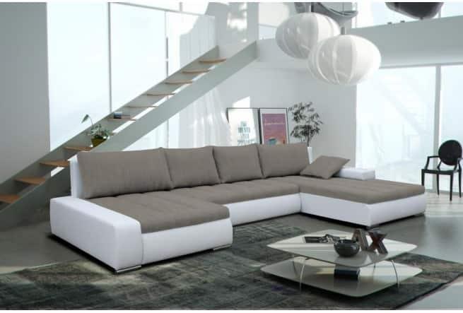CAYENNE grå/hvid u-sofa