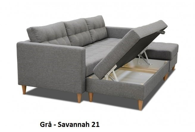 sovesofa chaiselong Sovesofa med chaiselong og puf   Stilfuld samt funktionel sovesofa chaiselong