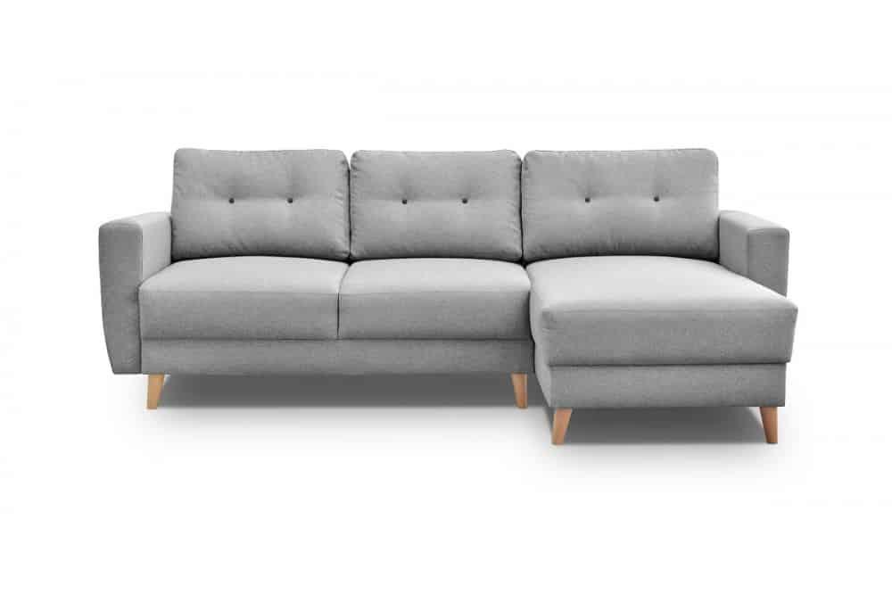 Larvik sovesofa med chaiselong set på hvid baggrund