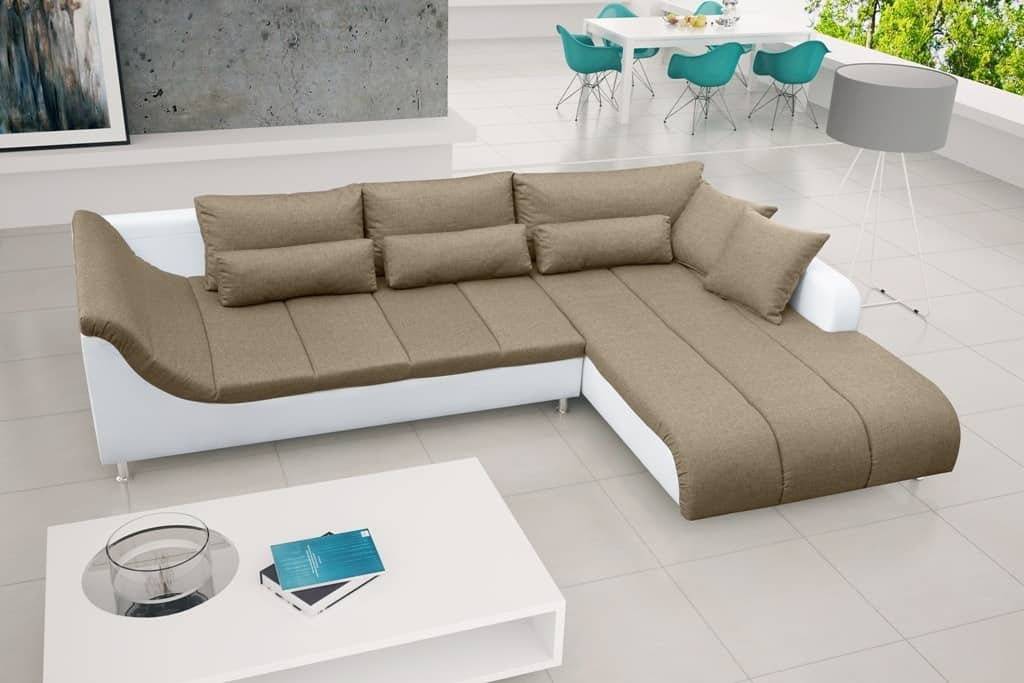 Corey beige chaiselong sofa set forfra
