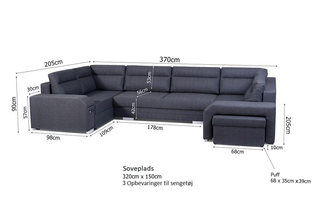 Alvares u sofa - billedet med mål