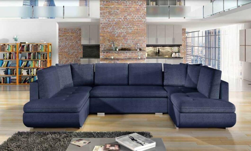 Argentina mørkeblå U-sofa s et forfra