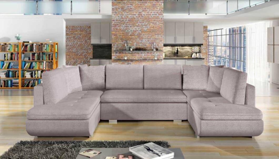 Argentina lyserød U-sofa set forfra