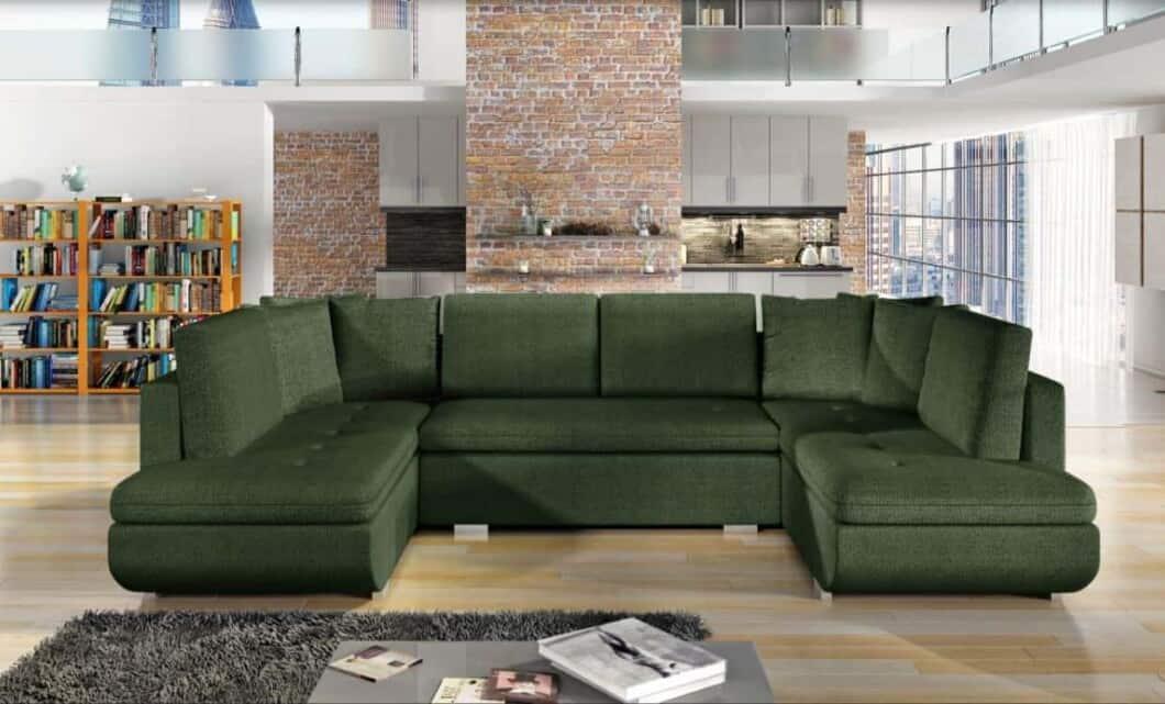 Argentina khaki U-sofa s et forfra