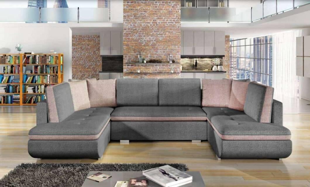 Argentina grå U-sofa s et forfra