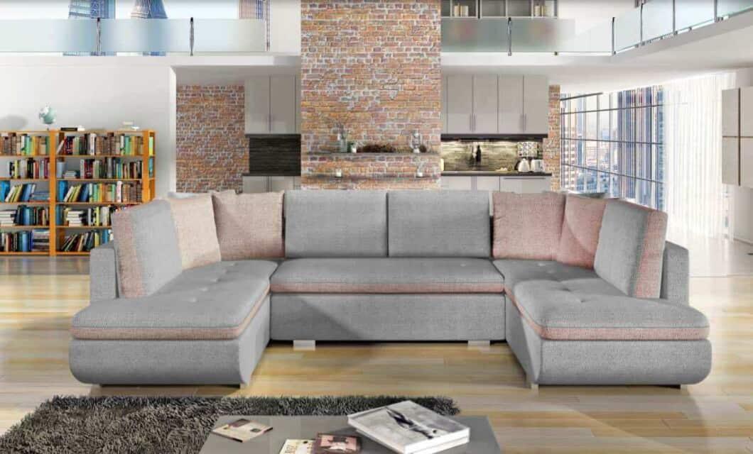 Argentina himmelgrå U-sofa s et forfra