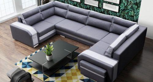Altantis grå U-sofa s et forfra