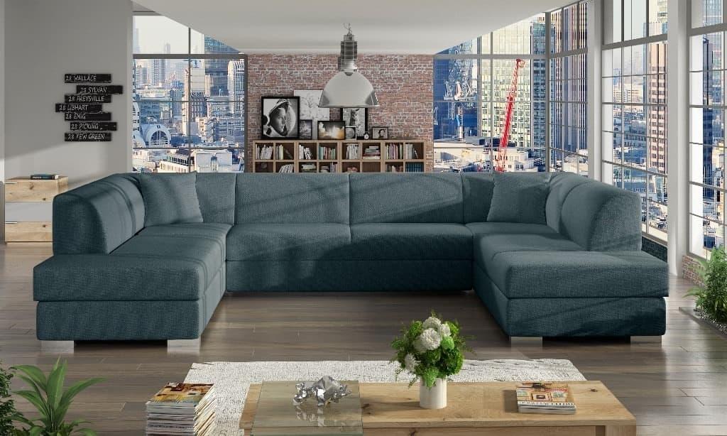 Darco mørkeblå blå U-sofa s et forfra
