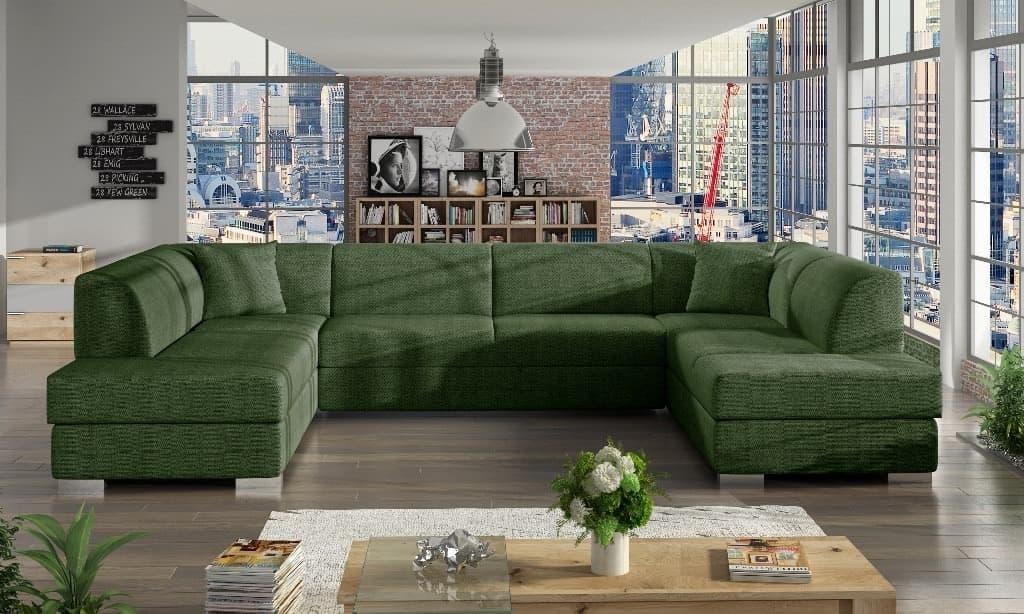 Darco khaki U-sofa s et forfra
